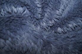 Teddy stof - KN21 0856-630 Cotton teddy donker jeansblauw