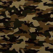 Jumpsuit stoffen - KN21 17506-213 Travel camouflage bruin