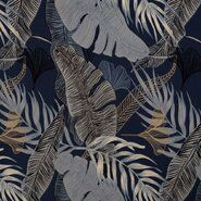 KnipIdee stoffen - KN21 17910 Tricot digitaal tropical leaves blauw