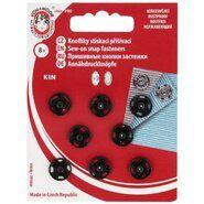 Standaard knopen - Drukknopen zwart 10 mm op rood kaartje (1000)*