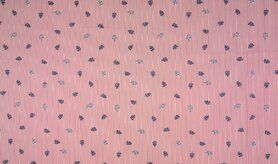 Rot - KC0528-015 Baumwolle Streifen Blätter rot