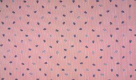 Rote Stoffe - KC0528-015 Baumwolle Streifen Blätter rot