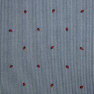 Blauwe stoffen - KN21 17999-606 Seersucker stripe aardbeien blauw/rood