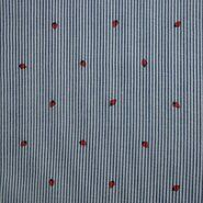Rode stoffen - KN21 17999-606 Seersucker stripe aardbeien blauw/rood
