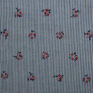 Katoen met elastan - KN21 17999-609 Seersucker bloemen blauw/rood