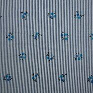 Bloemen motief - KN21 17999-610 Seersucker stripe bloemen blauw