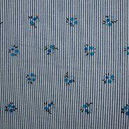 Nieuwe stoffen - KN21 17999-610 Seersucker stripe bloemen blauw