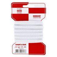 1 cm elastiek - Ruche elastiek wit smal 10 mm op kaartje (5 meter)