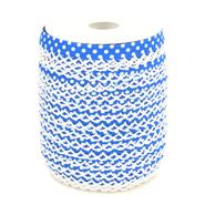 Band met sierrandje - Biasband met kantje stipjes kobaltblauw/wit 71486-28*