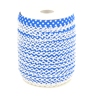 Biasband* - Biasband met kantje stipjes kobaltblauw/wit 71486-28*