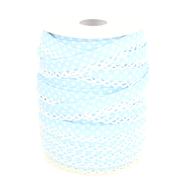 Met kant band - Biasband met kantje stipjes lichtblauw/wit 71486-259*