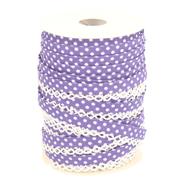 Band met stippen - Biasband met kantje stipjes paars/wit 71486-215*