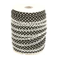 Band met sierrandje - Biasband met kantje stipjes zwart/wit 71486-000*