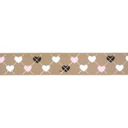 Band - Ripslint hartje beige 25mm 22384-886