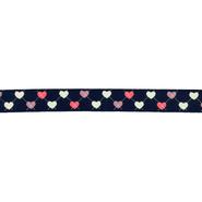 Ripsband - Ripslint hartje donkerblauw 16mm 22384-210