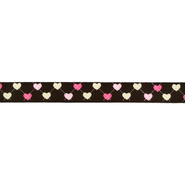16 mm band - Ripslint hartje 16 mm donkerbruin 22384-16