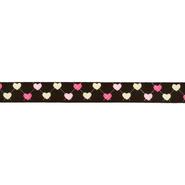 Band met hartjes - Ripslint hartje 16 mm donkerbruin 22384-16