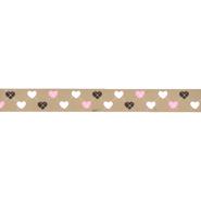 Band met hartjes - Ripslint hartje 16 mm beige 22384-16