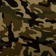 Katoen, polyester, elastan - KN21 0864-210 Tricot camouflage groen/bruin/beige