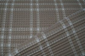 90% katoen,10% polyester - KN21 18460-178 Wafelkatoen ruit beige