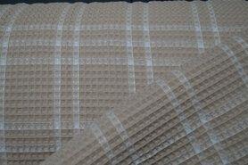 Beige Stoffe - KN21 18460-179 Waffelbaumwolle Karo beige
