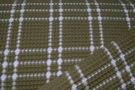90% katoen,10% polyester - KN21 18460-215 Wafelkatoen ruit mosgroen