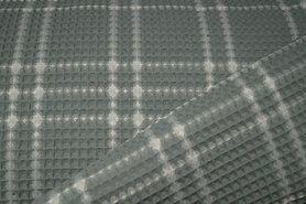 90% katoen,10% polyester - KN21 18460-322 Wafelkatoen ruit oudgroen