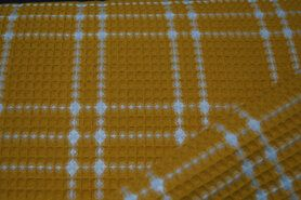 90% katoen,10% polyester - KN21 18460-570 Wafelkatoen ruit oker