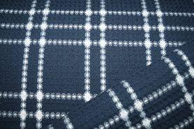 Wafel ruit - KN21 18460-600 Wafelkatoen ruit donkerblauw