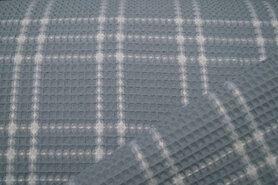 90% katoen,10% polyester - KN21 18460-690 Wafelkatoen ruit licht oudblauw