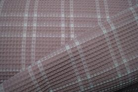 90% katoen,10% polyester - KN21 18460-820 Wafelkatoen ruit oudroze
