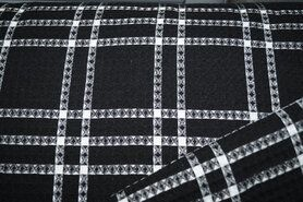KnipIdee stoffen - KN21 18460-999 Wafelkatoen ruit zwart