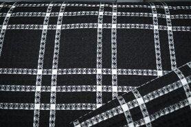 Wafel ruit - KN21 18460-999 Wafelkatoen ruit zwart
