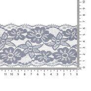 Band met bloem - Rekbaar kant 6.5 cm lichtgrijs (2149-004)
