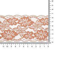 Band met bloem - Rekbaar kant 6.5 cm zalm (2149-704)