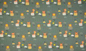 Bluse - K10012-023 Tricot luchtballonnen/dieren dusty groen