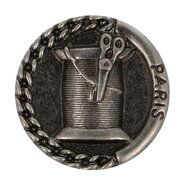 Metallknöpfe - Knopf Metall Garnrolle/Schäre dunkel Nickel 2.2 cm (5658/36)
