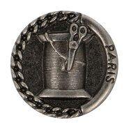 Standaard knopen - Knoop metaal klosje/schaar donker nickel (5658/24)*