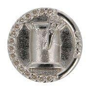 Metallknöpfe - Knopf Metall Garnrolle/Schäre Nickel 1,5 cm (5658/24)