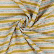Zilveren stoffen - ByPoppy21 9023-002 Tricot lurex gestreept oker/blauw/roze/zilver
