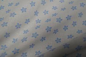 Ster motief - Ptx Zomer21 310101-91 Katoen zee sterretjes wit/lichtblauw