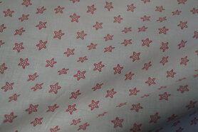 Katoenen stoffen - Ptx Zomer21 310101-92 Katoen zee sterretjes off-white/rood