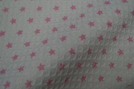 Polytex stoffen - Ptx Zomer21 795010-51 Wafelkatoen sterretjes off-white/roze