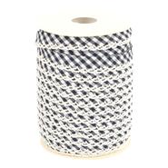 Band met sierrandje - Biasband met kantje ruitje donkerblauw 71446-22* op=op