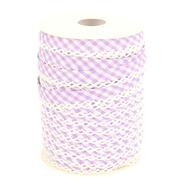 Band met sierrandje - Biasband met kantje ruitje lila 71446-68 op=op