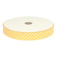 Bedrukt band - Biasband ruitje geel 7440/645