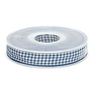 Band - Sierband geruit (10 mm) donkerblauw/wit 1843-210