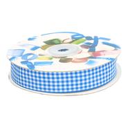Band - Sierband geruit (15 mm) kobaltblauw/wit*