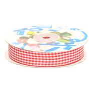 Sierband* - Sierband geruit (15 mm) rood/wit*