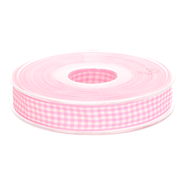 Band - Sierband geruit (15 mm) lichtroze/wit*